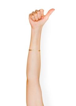 Gesto de mano sobre fondo blanco