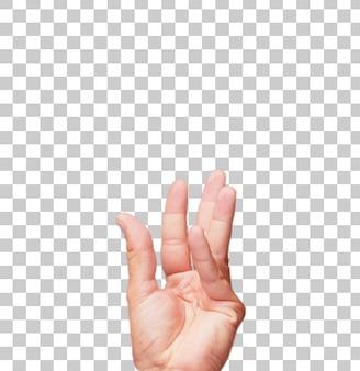 Gesto masculino aislado del asimiento de la mano