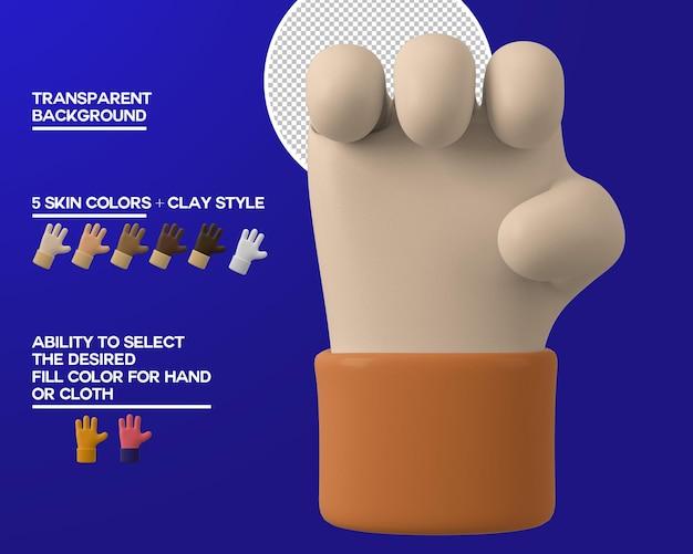Gesto de puño de mano de dibujos animados