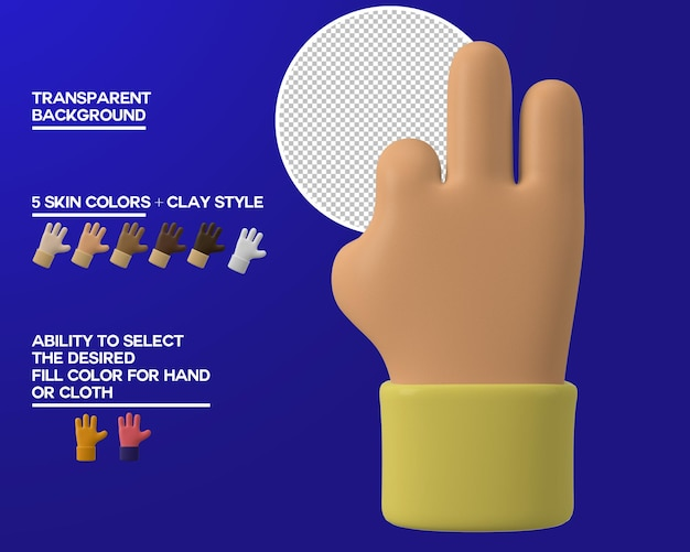 Gesto de tres dedos de la mano de dibujos animados