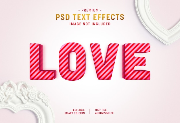 Gestreepte liefde valentine teksteffect sjabloon