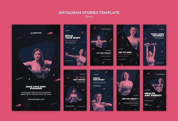 Get fit concept plantilla de historias de instagram