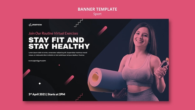 Get fit concept sjabloon voor spandoek