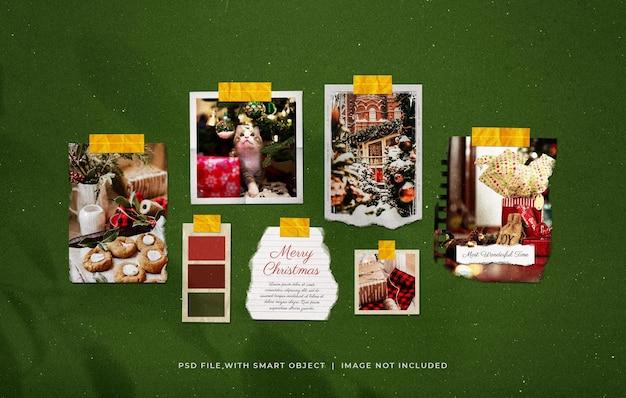 Getapete kerstgroet gescheurde foto film frame moodboard mockup