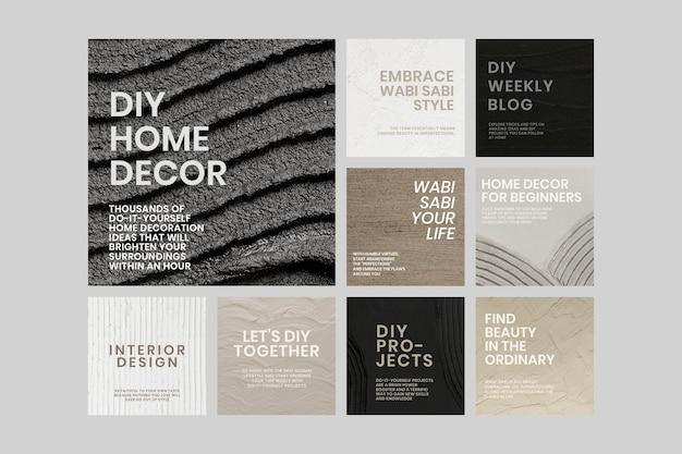 Getextureerde sociale-mediasjabloon psd voor interieurbedrijf in minimalistische stijl