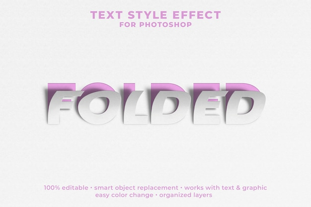 Gevouwen 3d-tekststijleffect psd-sjabloon