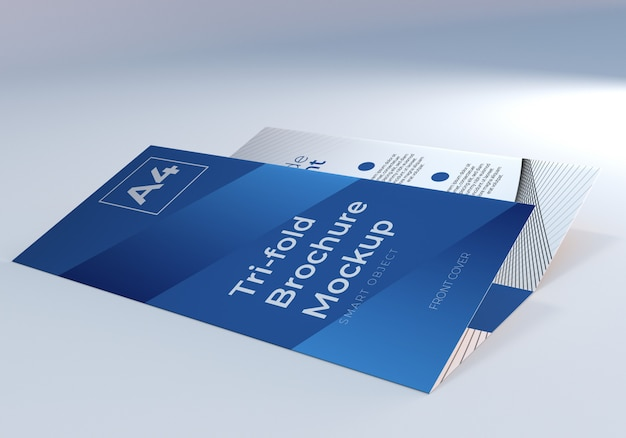 Gevouwen a4 driebladige brochure papier mockup