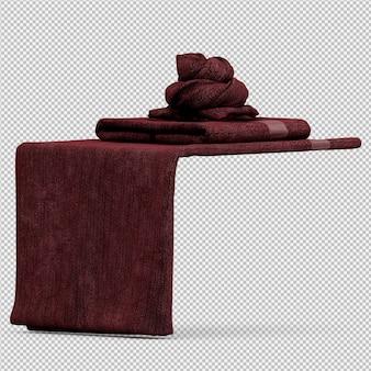 Gevouwen handdoeken op geïsoleerde rand 3d geven terug