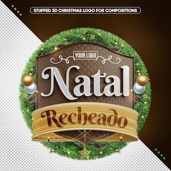 Gevuld 3d-kerstlogo voor composities in brazilië