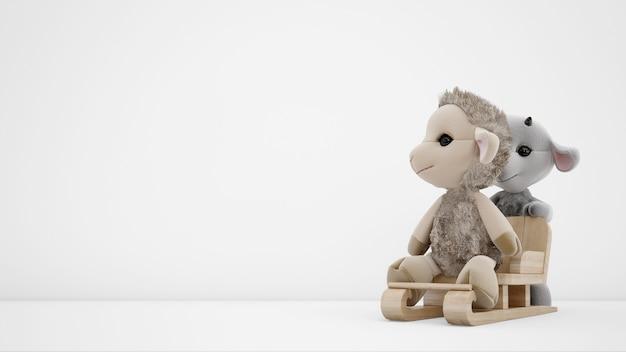 Gevuld dierenspeelgoed over witte muur met copyspace