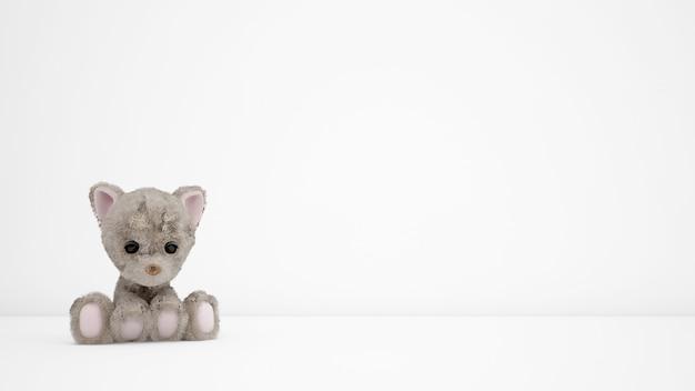 Gevulde puppy's op witte kamer met copyspace
