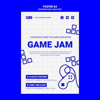 Gewaagde minimalistische game fest fest poster sjabloon