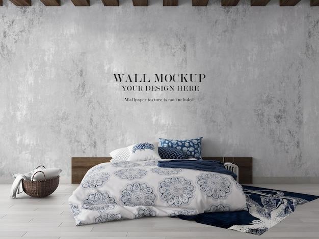 Gewone slaapkamermuur mockup-ontwerp
