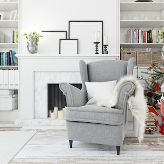 Gezellige woonkamer, comfortabele fauteuil