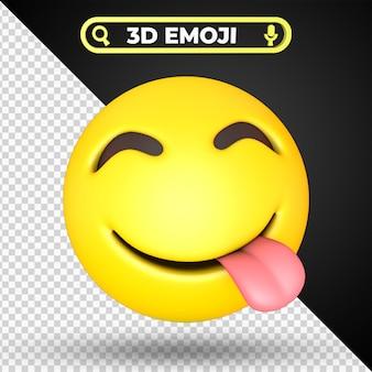Gezicht genieten van heerlijk eten emoji geïsoleerd Premium Psd