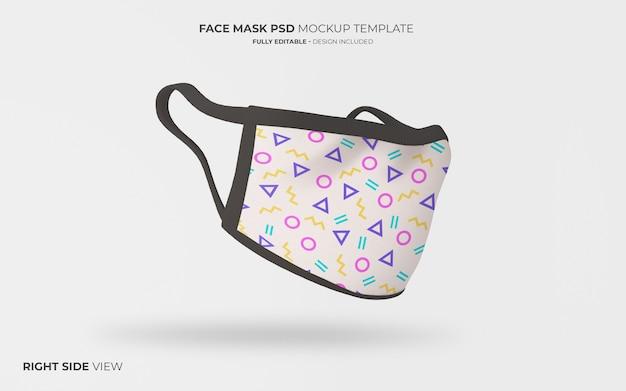 Gezichtsmasker mockup in rechter zijaanzicht