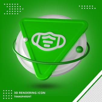 Gezichtsmasker pictogram 3d-rendering ontwerp