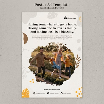 Gezin met ouders en kinderen posterontwerpsjabloon