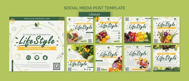 Gezond eten levensstijl social media postsjabloon Premium Psd