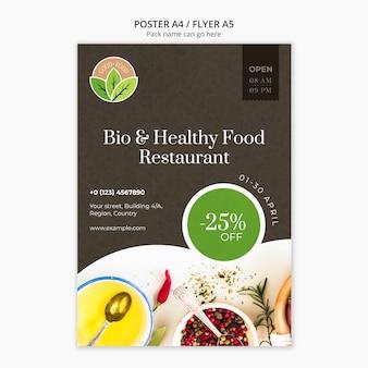 Gezond eten restaurant poster sjabloon