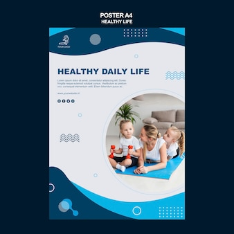 Gezond leven concept flyer stijl