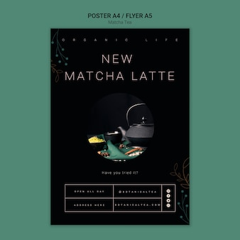 Gezond matcha-thee-afficheconcept