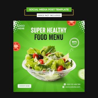 Gezond plantaardig voedsel sociale media en instagram postsjabloon