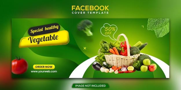 Gezond vers voedsel groente en kruidenier facebook omslag en webbannersjabloon