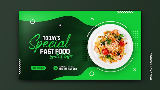 Gezond voedselmenu en groenterestaurant social media bannersjabloon gratis psd