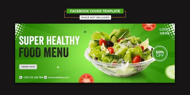 Gezonde groente eten sociale media en facebook voorbladsjabloon