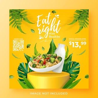 Gezonde menu promotie sociale media instagram post sjabloon voor spandoek