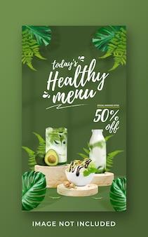 Gezonde menupromotie sociale media instagram verhaalsjabloon voor spandoek