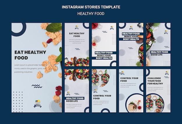 Gezonde voeding instagram verhalen sjabloon