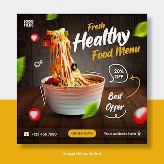 Gezonde voeding menu instagram postsjabloon banner