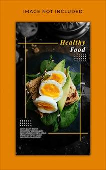 Gezonde voeding menu promotie instagram verhalen banner sjabloon
