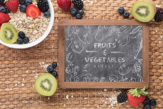 Gezonde voeding met schoolbord