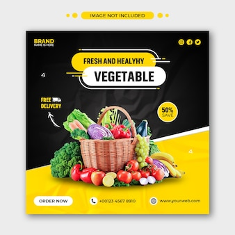 Gezonde voeding recept promotie sociale media instagram post en webbannersjabloon