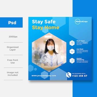Gezondheidszorg en medisch sociale media-banneradvertentie voor covid 19