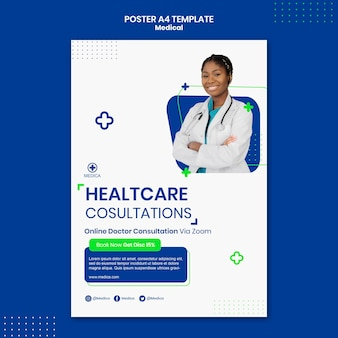 Gezondheidszorg overleg poster sjabloon