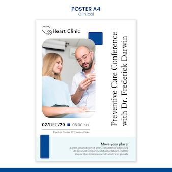 Gezondheidszorg poster sjabloon met foto