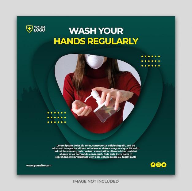 Gezondheidszorgbanner of vierkante flyer met thema voor viruspreventie voor postsjabloon voor sociale media