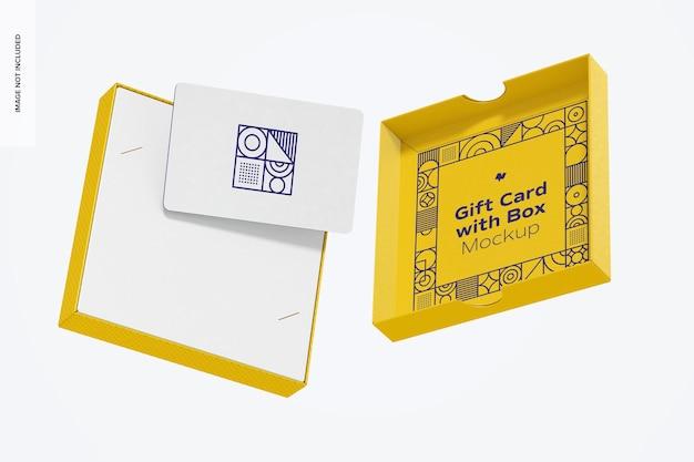 Gift card met box mockup, falling