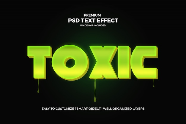 Giftig groen 3d-teksteffect psd-sjabloon