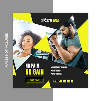 Gimnasio fitness redes sociales web banners psd plantilla