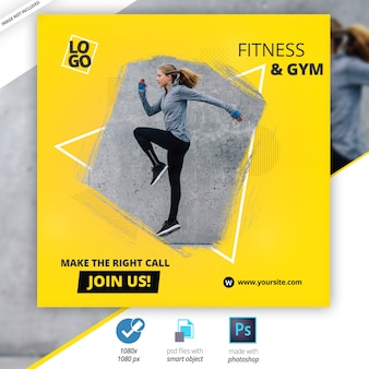 Gimnasio fitness redes sociales web banners
