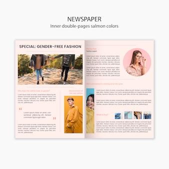 Giornale di moda interno a due pagine color salmone