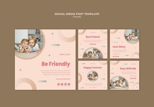 Giornata dell'amicizia con i post sui social media dei bambini
