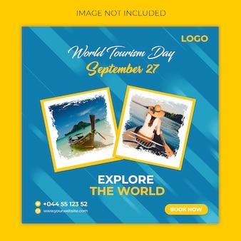 Giornata mondiale del turismo post sui social media
