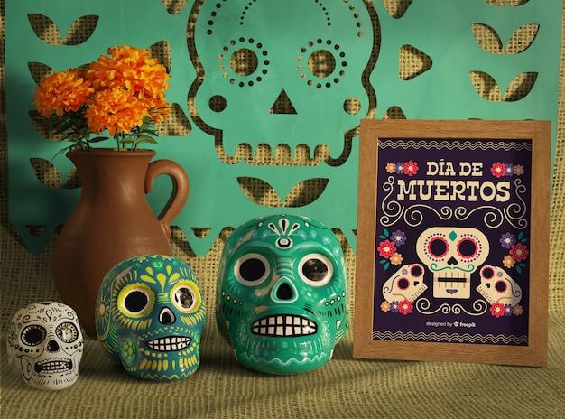 Giorno dei morti teschi floreali messicani tradizionali vista frontale