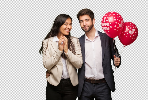 Giovane coppia in giorno di san valentino che escogita un piano